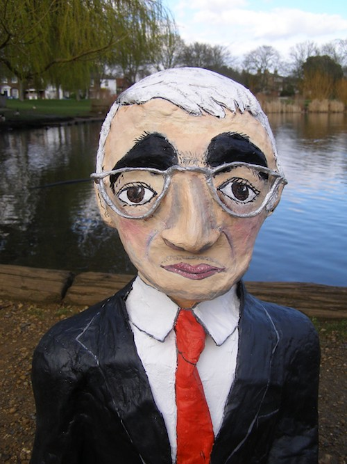 Alastair Darling charicature sculpture in papier mache
