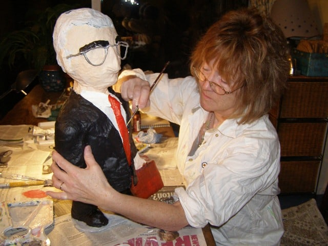 Anita Russell creating a sculpture of Alistair Darling