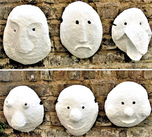 papier mache neutral Basel masks