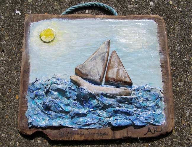 Flotsam and jetson boat on papier mache sea by Anita Russell