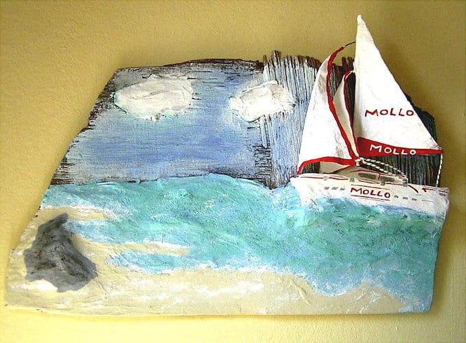 papier mache yacht sculpture