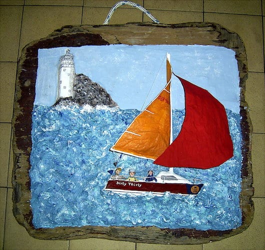 Commission Papier Mache Yacht at Fastnet.