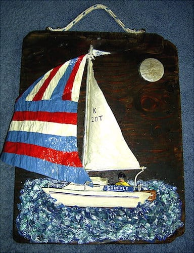 Commission Papier Mache yacht set on driftwood