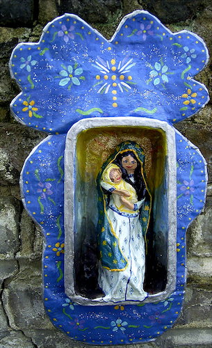 madonna and child diorama made of papier mache