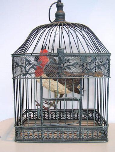 papier mache robin in cage