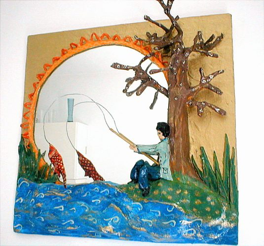 fishing scene mirror in papier mache