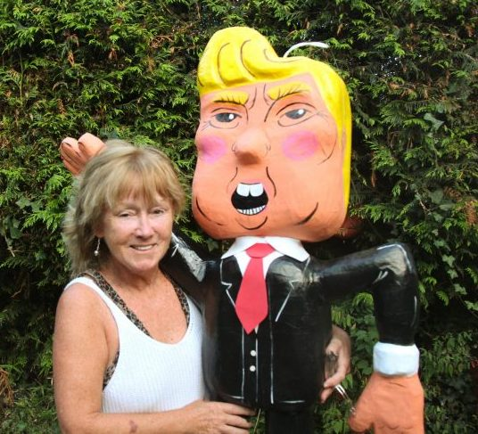Papier mache restoration of Trump pinata