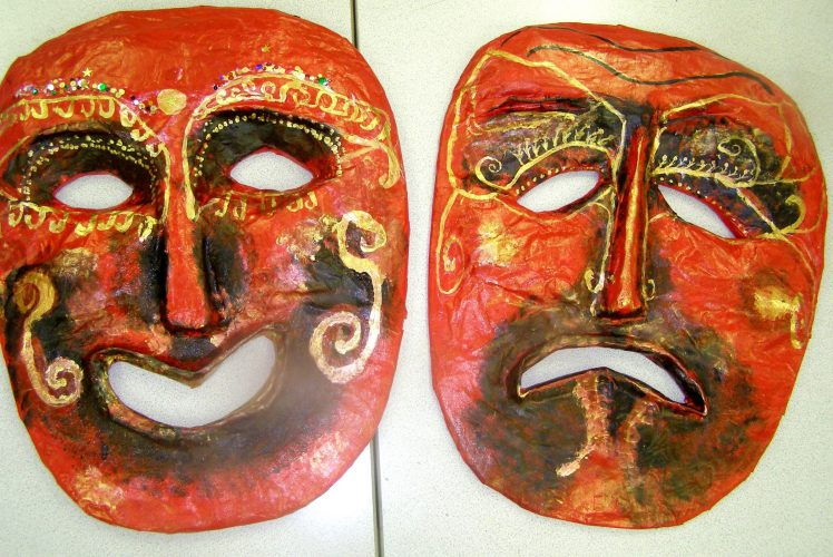 oversized papier mache masks