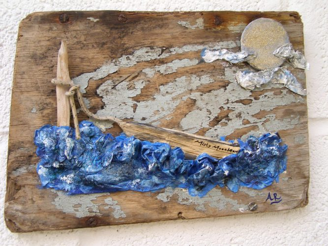 papier mache boat and sea art