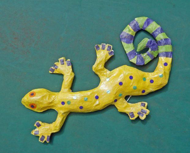 Papier mache lizard gecko