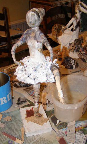 newspaper layers papier mache ballerina