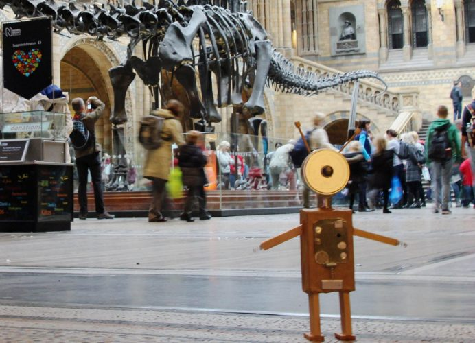 Dippy and the papier mache robot