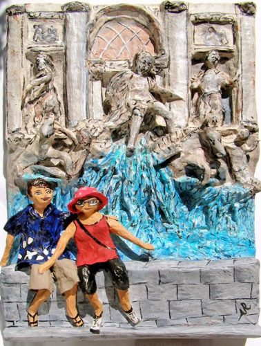 Trevi fountain first paper anniversary sculpture