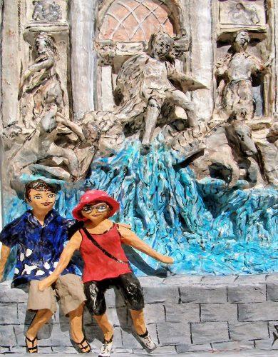 Papier mache sculpture first anniversary Trevi Fountain