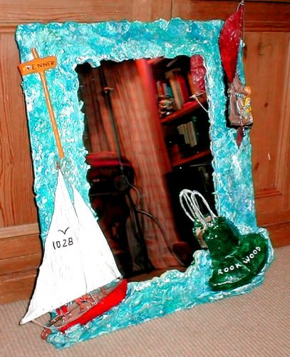 papier mache dinghy sailing mirror