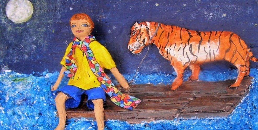 The Tiger is my Friend by Anita Russell created for auction for autism.