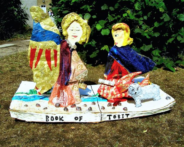 Papier Mache sculpture of Tobias and the Angel