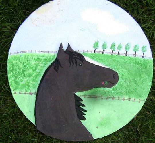 papier mache horse sculpture
