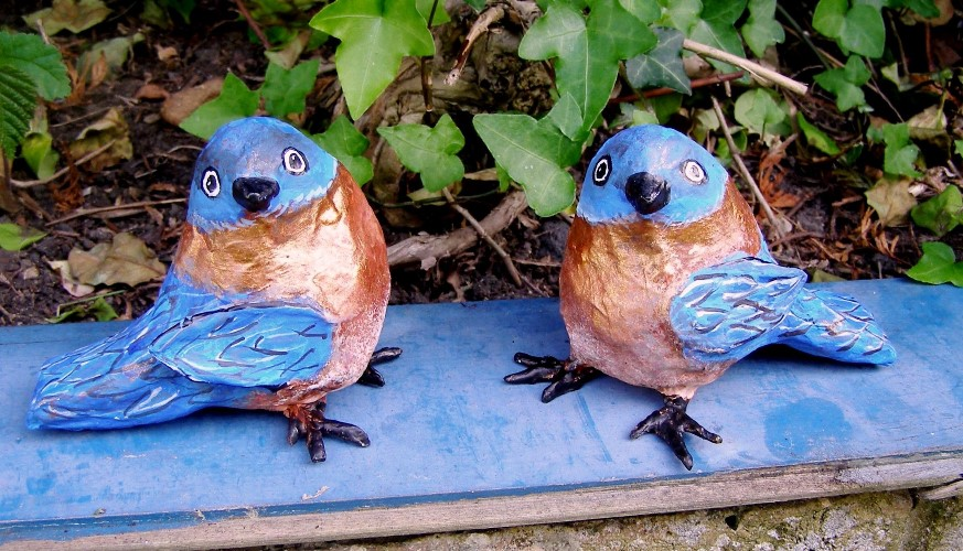 Papier mache love birds by Anita Russell