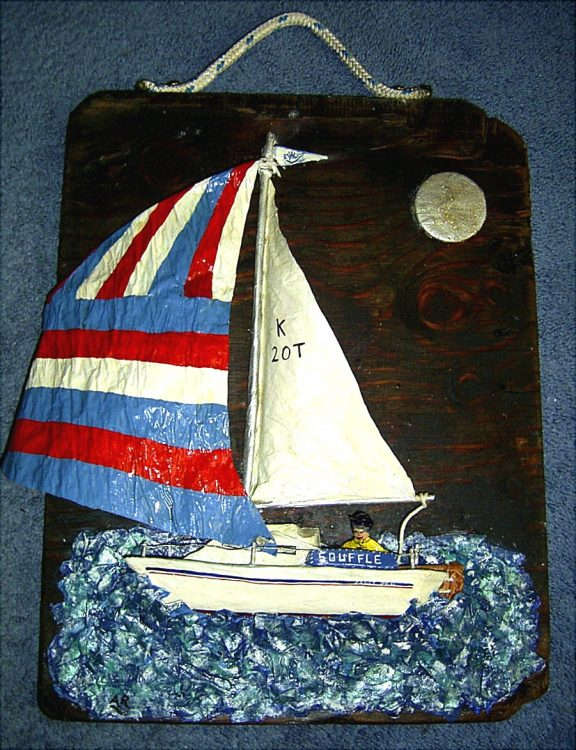 Commissioned papier mache yacht on driftwood