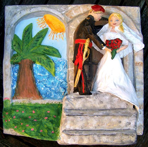 Honeymoon and wedding memento in papier mache by Anita Russell