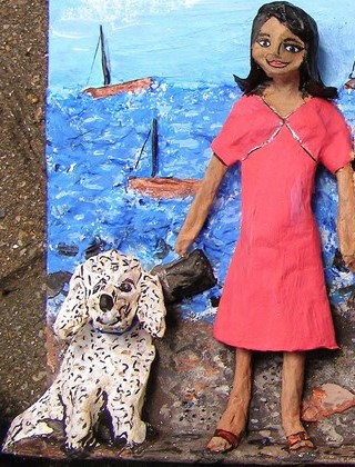 Visiting Cowes with my pooch, a papier mache sculpture