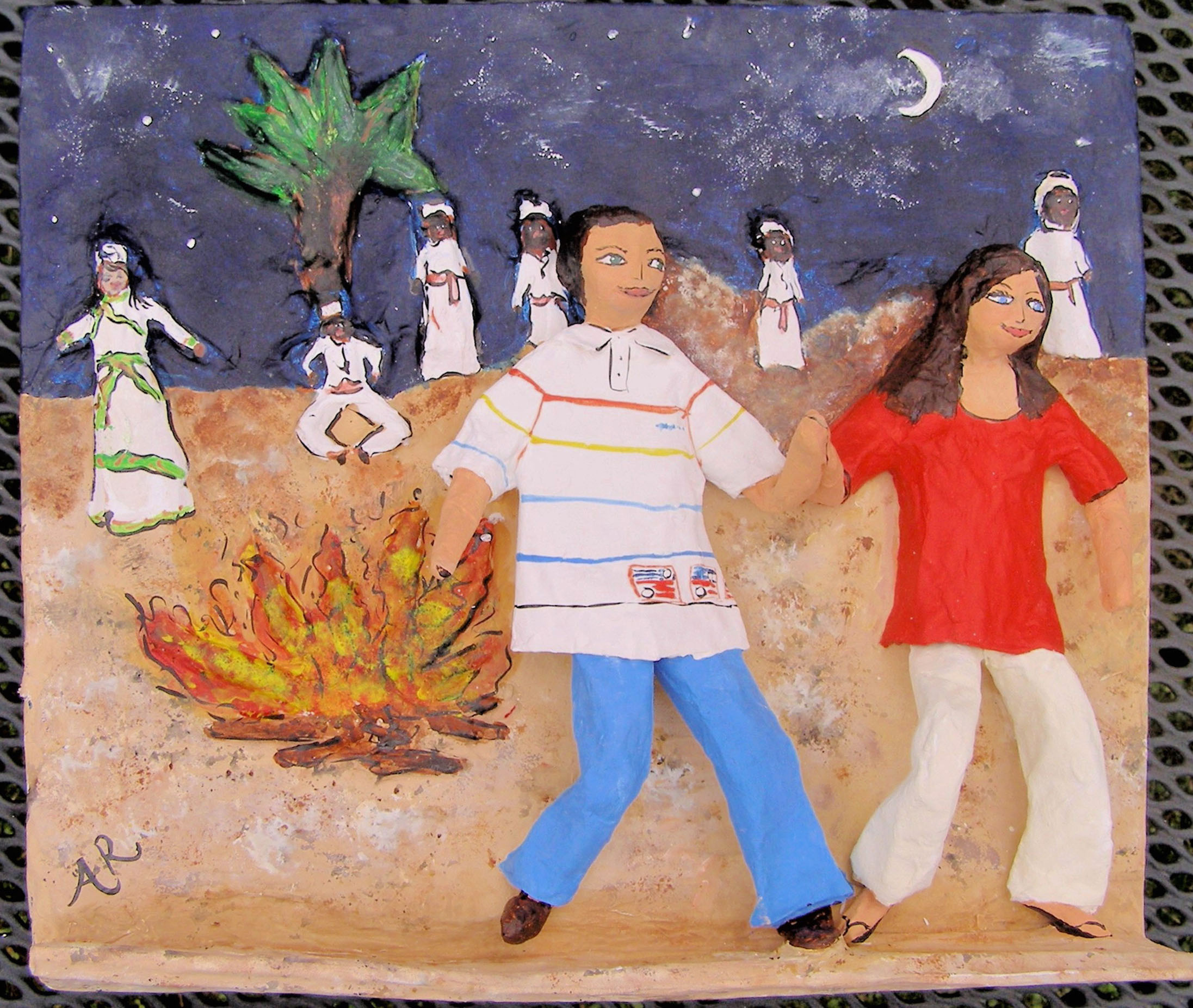 Papier mache sculpture first anniversary Morocco