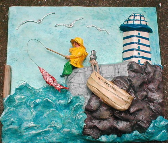 papier mache fishing tableau
