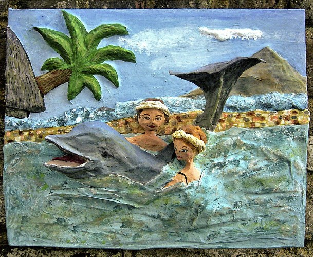 Papier mache honeymoon scupture Swimming with Dolphins
