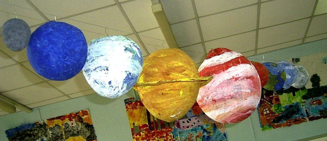 Planets in order of size in papier mache