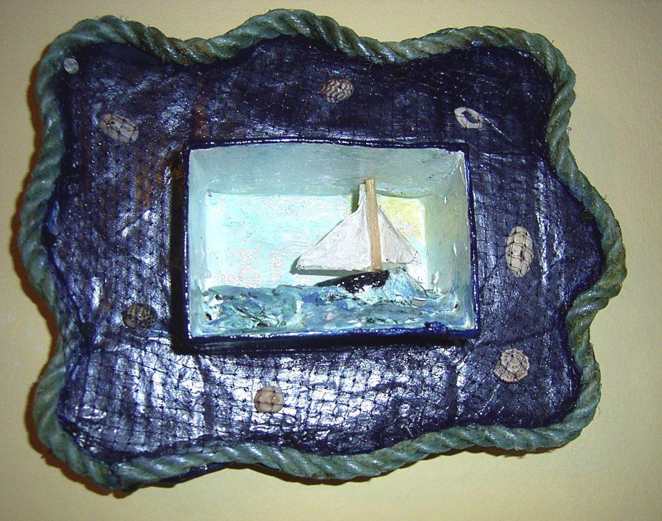 papier mache boat diorama