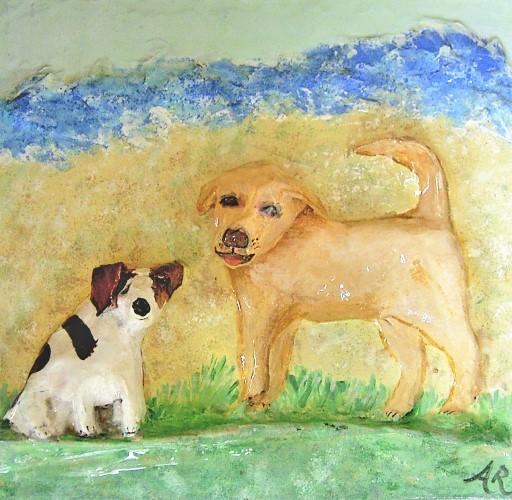 papier mache dog portrait