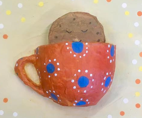 Papier mache teacup and dunking biscuit Anita Russell