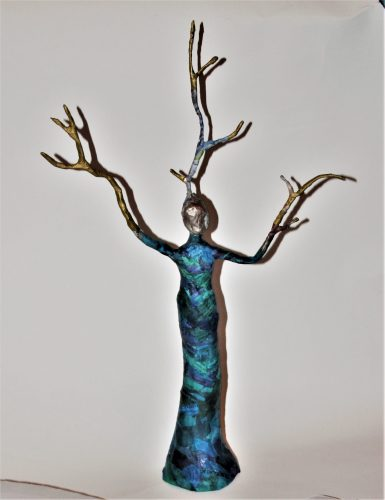 papier mache tree spirit. Made in a workshop at Driftwood Dreams