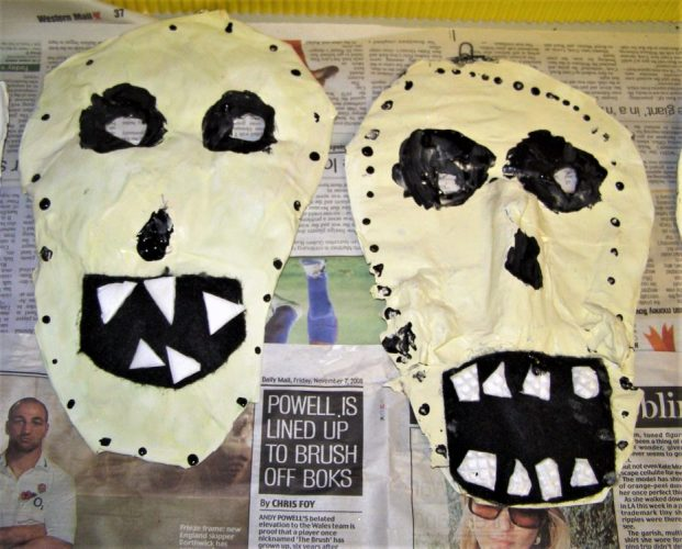 papier mache skeleton heads