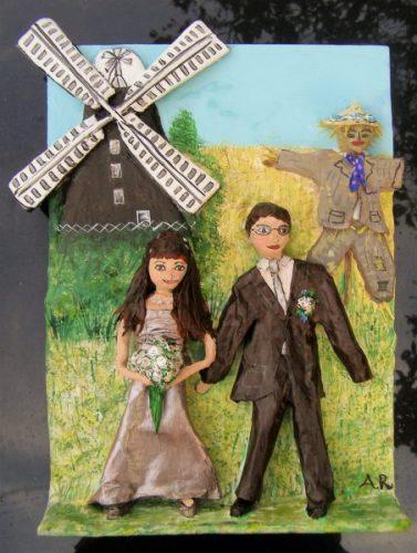 Papier mache honeymoon memory by Anita Russell