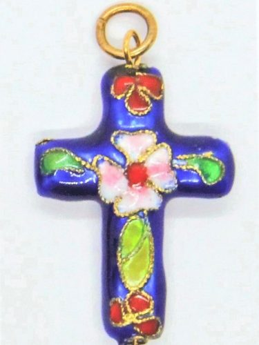 Cloisonné crucifix necklace with gold chain