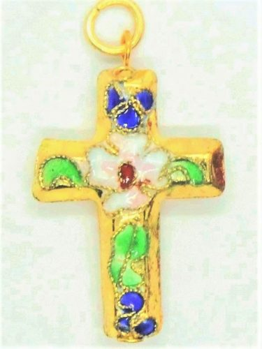 Cloisonné crucifix necklace