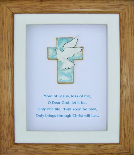 hand painted cross in frame with prayer