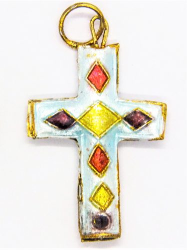 Mexican Cloisonné crucifix necklace gift