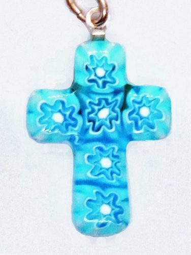 millefiori crucifix pendant necklace for a communion gift