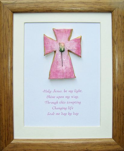 hand painted Celtic cross in frame with prayer